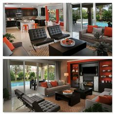 Orange you happy we decided to show two views of this living space from Lennar Southeast Florida!? #orange #decor