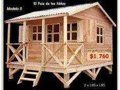 Casitas Infantiles de Madera - Rosario - Funes - argentina Small Log Cabin, Tiny House Cabin, Two Bedroom Tiny House, Cottage Kits, Bamboo House Design, Kids Castle, Pallet House, Spanish House, Small House Plans