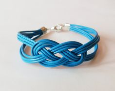 My DIY: Peacock Blue Leather Strap Bracelet with Sailor Knot by starryday