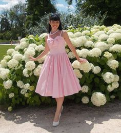 All dolled up in Unique Vintage Pink Seeing Stripes Swing Dress #uniquevintage, #uvdarlings