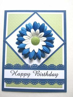Happy Birthday card floral blue and green by BellaCardCreations, $4.50