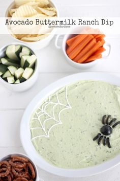 Halloween Avocado Buttermilk Ranch Dip @createdbydiane @ca_avocados