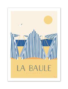"""€25 . Affiche Illustration Originale La Baule """"Les Tentes"""" . Papier 350g/m² Couché Mat"""
