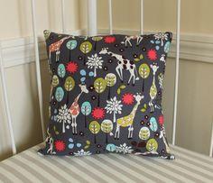 """Pillow Cover - 12"""" x 12"""" - Giraffe Garden Gray. $15.00, via Etsy."""