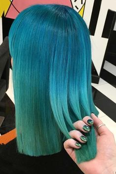 Read on to discover trendy and unconventional light-blue, dark-blue, electric blue, blue-green, blue-purple hair color variations. #haircolor #bluehair
