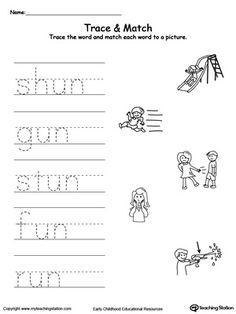 Word Recognition, Writing and Drawing: UT Words