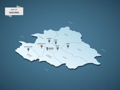 Isometric 3D Andorra map, vector illustration with cities, borders, capital, administrative divisions and pointer marks; gradient blue background. Concept for infographic.