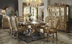 Dresden Dining Room Set (Gold Patina) by Acme Furniture in Formal Dining Sets. Each piece in Dresdens Dining Room Set by Acme Furniture has been meticulously designed and crafted to match in style and finish. The chair frames are substantive a luxurious a Formal Dining Tables, Trestle Dining Tables, Extendable Dining Table, Dinning Table, Dining Room Furniture Sets, Acme Furniture, Dining Room Sets, Empire Furniture, Furniture Online