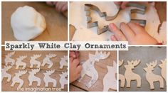 White Clay Ornaments Tutorial - The Imagination Tree 1 cup bk soda 1/2 cup corn starch 3/4 cup warm water Dry overnight or in oven