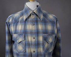 Vintage 1970's Men's Pendleton Cowboy Shirt, Retro 1970's Wool Plaid Pendleton Cowboy Shirt, Retro 1970's Men's Plaid Wool Pendleton Shirt