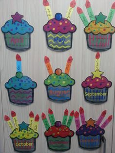 Class Birthdays Birthday Cupcakes Clip art downloaded from http://www.teacherspayteachers.com/Product/Cute-Colorful-Calorie-Free-Cupcakes-Clip-Art-on-Notebook-Paper-755695