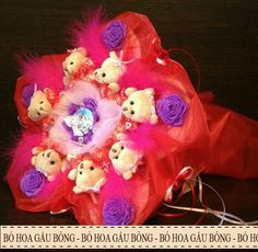 Bó hoa gấu bông