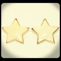 Vintage Cream & Gold Star Post Earrings. $7.50, via Etsy.