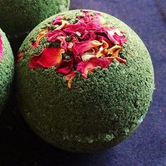 The stunning Enchanted Garden Bath Bomb scented with rose and sandalwood.
