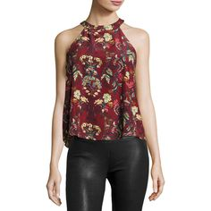 Moon River Floral-Print Halter Tie Top ($34) ❤ liked on Polyvore featuring tops, dark red, eyelet top, floral print tops, floral sleeveless top, grommet top and red halter neck top