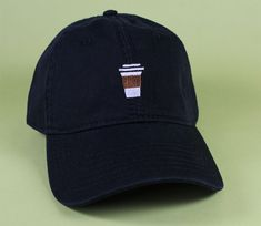 4967e12ebd5 Coffee Cup Baseball Hat Dad Hat Low Profile White Pink Black Casquette  Embroidered Unisex Adjustable Black
