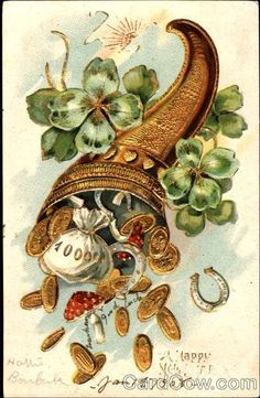 Vintage Happy New Year postcard from Decorated with four leaf clovers, gold coins, horseshoes and red mushrooms. Good luck, good will and wealth. Feng Shui Symbols, Vintage Happy New Year, Simple Oil Painting, Good Luck Symbols, Money Pictures, New Year Postcard, 3d Fantasy, Indian Art, Vintage Cards