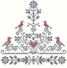 Tree of Life Cross Stitch Pattern Birds and by blackphoebedesigns