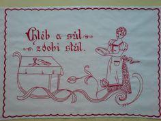 Vyšívaná kuchařka Ručně vyšívané bavlněné bílé plátno, rozměr cca 80x60 cm. Možnost po domluvě zhotovit v jiné barvě vyšívky, případně i plátna s dodáním nejpozději do dvou týdnů. Embroidery Patterns, European Countries, Folk, Czech Republic, Crafts, Ideas, Cloths, Needlepoint, Dibujo