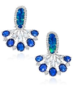 Cellini Jewelers ~ Sutra Jewels Mini Opal Fan Earrings, featuring 2.86ct of oval-shaped opals, lead into 2.62ct of rose-cut diamonds, and 5.19ct of rose-cut oval sapphire. Set in 18k white gold.