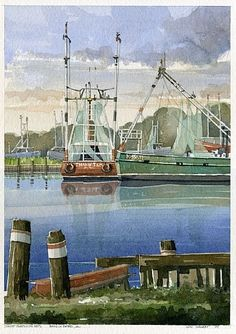 The Shrimpers by Iain Stewart Watercolor ~ 13 x 9