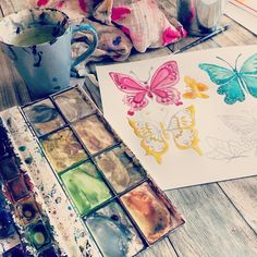 Having fun with watercolor paint #butterfly #watercolor #painting #fun #happytime #doodles #clipart #art
