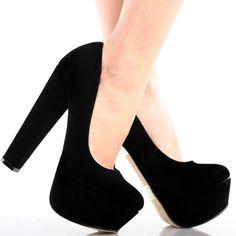 Black Suede Slip On Retro Women Chunky High Heel Platform Dress