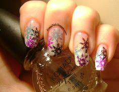 Konad Addict: Winter nail arts + How to create an outlined design