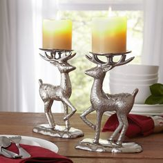 Nickel Reindeer Candleholder | Display holiday candles for an elegant centerpiece with this nature-inspired candleholder.