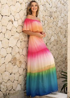 Off Colour, Belted Dress, Half Sleeves, Women's Fashion Dresses, Rainbow Colors, Bohemian Style, Tie Dye Skirt, Color Schemes, High Waist