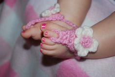 My own baby barefoot sandals and flower crochet pattern made just for B :)