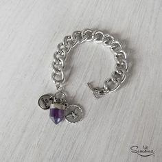 Pulsera Cristal - Amatista Heart Charm, Charmed, Bracelets, Silver, Jewelry, Fashion, Olinda, Amethyst Crystal, Crystal Bracelets