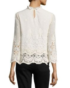 TCXFH MiH Esbaran Scalloped Lace Top, Ivory