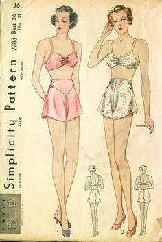 f72726cfd0 ... Sexy Lacy Full Slip Bra Top Garter and French Knickers Panties womens  vintage sewing pattern by mbchills. 1930 s Simplicity pattern for ladies   bras and ...