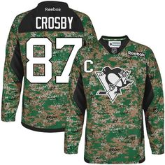57ae3290f Reebok Pittsburgh Penguins  87 Men s Sidney Crosby Authentic Camo Veterans  Day Practice NHL Jersey Mitchell
