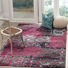 Safavieh Monaco Modern Abstract Pink/ Multi Rug (5'1 x 7'7) , Size 5' x 8'