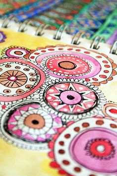 zentangle type doodles and water color. Thinking outside of the zentangle box