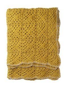 Mustard crochet throw Toast. Love the blanket stitch.