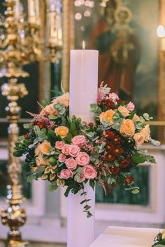 Unity Candle Ceremony for Your Christian Wedding Orthodox Wedding, Church Wedding Decorations, Church Flowers, Unity Candle, Greek Wedding, Wedding Ceremony, Wedding Inspiration, Pink Flowers, Candles