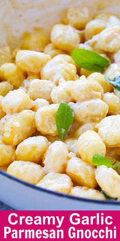 Creamy Garlic Parmesan Gnocchi - easy skillet gnocchi in garlicky, cheesy and creamy sauce. This dinner recipe takes only 15 mins to make. Pasta Recipes, Real Food Recipes, Cooking Recipes, Yummy Food, Dinner Recipes, Vegetarian Gnocchi Recipes, Delicious Recipes, Keto Recipes, Dinner Ideas