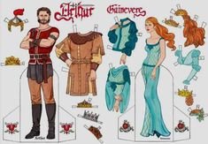 Here are King Arthur of Camelot and his wife Guinevere  in beautiful dress up paper doll versions  offered by Dover Publications.    Aqui ...