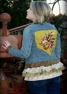 One of my denim upcycled denim jackets! One of my denim upcycled denim jackets! The post One of my denim upcycled denim jackets! appeared first on Denim Diy. Redo Clothes, Sewing Clothes, Denim Ideas, Denim Crafts, Altered Couture, Altering Clothes, Denim And Lace, Recycled Denim, Diy Clothing