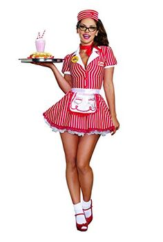 Costumes Diner Doll Costume Adult Halloween Fancy Dress (if I'm this for Halloween, I'm wearing my roller skates with it)! Doll Costume, Girl Costumes, Adult Costumes, 1950s Costumes, Alice Costume, Halloween Costumes, Party Costumes, Pin Up Girl Costume, White Costumes