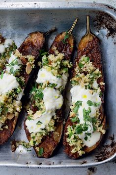 Yotam Ottolenghi's Chermoula Aubergine with Bulgar and Yoghurt. Makes a great starter, lunch or dinner... an all round winner, really.
