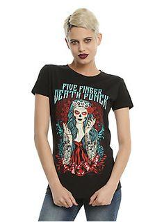 FIVE FINGER DEATH PUNCH LADY MUERTA GIRLS T-SHIRT DETAILShttp://www.hottopic.com/product/five-finger-death-punch-lady-muerta-girls-t-shirt/10864784.html $22.90 $17.17