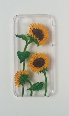 SUNFLOWERS I PHONE case 5 /5s   hand-painted hard by MOIartedesign