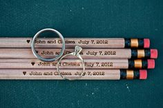 School Teacher Wedding Ideas - personalized #2 pencils for guests!