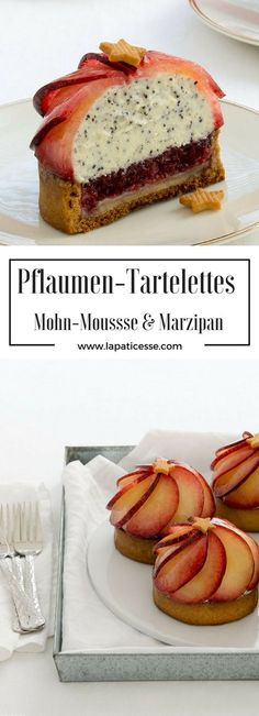 "Rezept für Pflaumen-Tartelettes ""Fleur de prunier"" mit Mohn-Mousse und Marzipan * Recipe for Plum Tartlets with poppy seed mousse and almond paste * Recette de tartelettes aux prunes et mousse de pavot et massepain * Made by La Pâticesse"