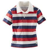 Bold stripes and a contrast collar give this polo shirt style. Pair with his shorts and jeans and pop the collar for a little extra fun.