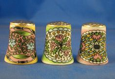 FINE CHINA THIMBLES - SET OF THREE ART NOUVEAU GOLD TOP